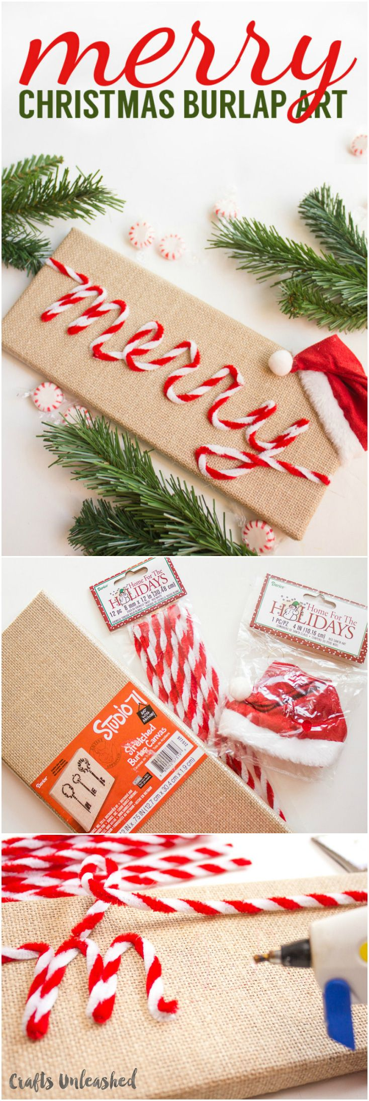 """Learn how to make your own vintage-inspired art like this """"Merry"""" burlap DIY Christmas art! It's simple and quick to create - we'll show you how!"""