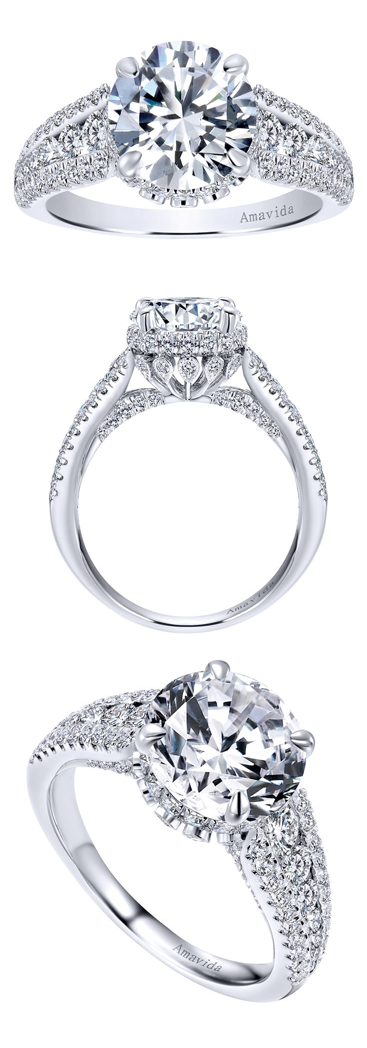 From the Amavida Collection, an 18k White Gold Contemporary Halo Engagement Ring.