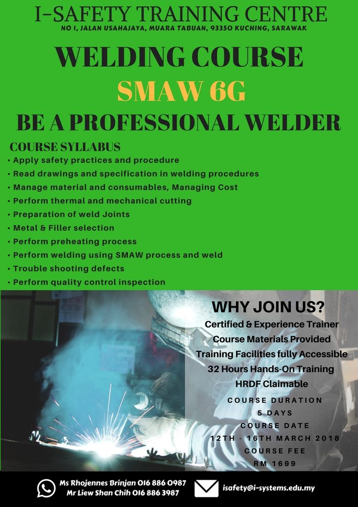 Greetings from I-Safety Training Centre! Upcoming quality Welding Training which is going to conduct in March,2018.  The course objective is aim to improve participant to a standard of practical proficiency in 6G Welding and is suitable for current welder; students & working adults in welding industry
