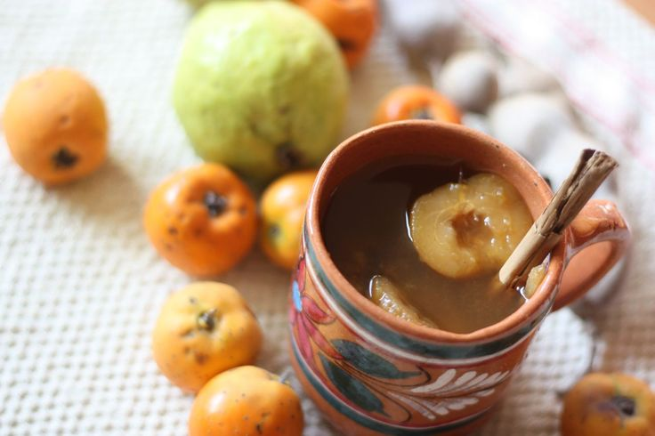 Ponche is a warm tropical-fruit punch traditionally served during Christmas in Mexico.