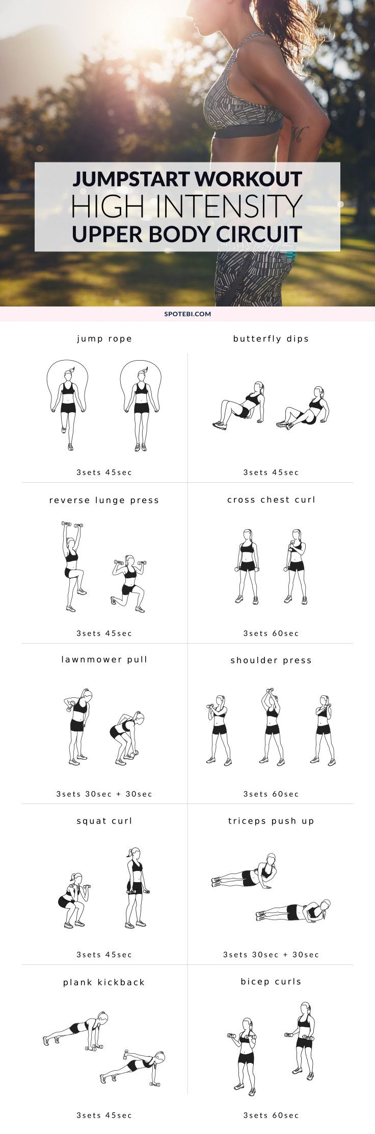 Jumpstart your weight loss and sculpt sleek, sexy arms and shoulders with this high-intensity upper body workout. A mix of cardio and strength training moves designed to burn off fat fast!