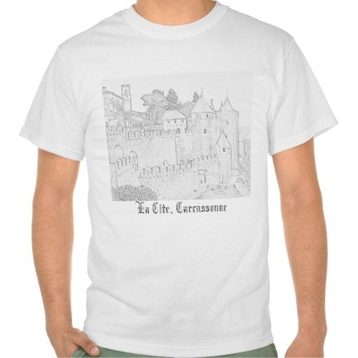 Carcassonne T Shirt - pencil sketch of the world famous 'La Cite' in Carcassonne $16.95
