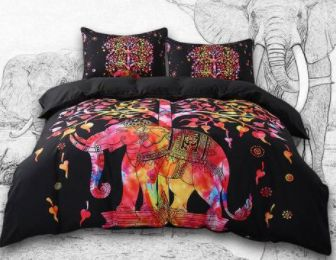 Only $83.46! Stunning red and black colourful boho bedding set. Elephant design. Shop24seven365! Available in several bedding sizes. Visit www.shop24seven365.com.au