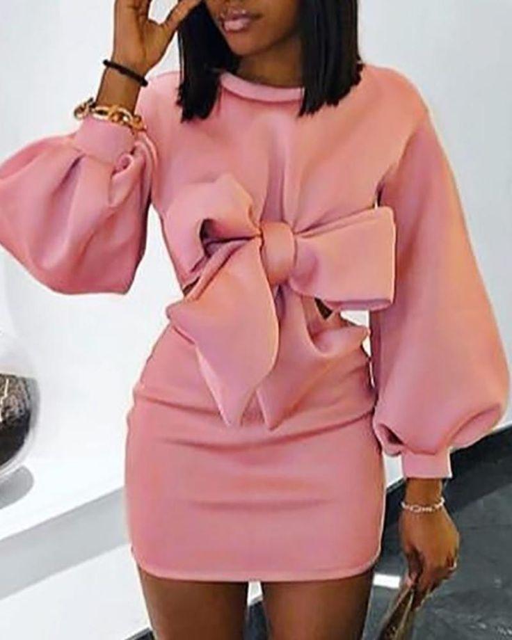 Lantern Sleeve Bowknot Design Bodycon Dress