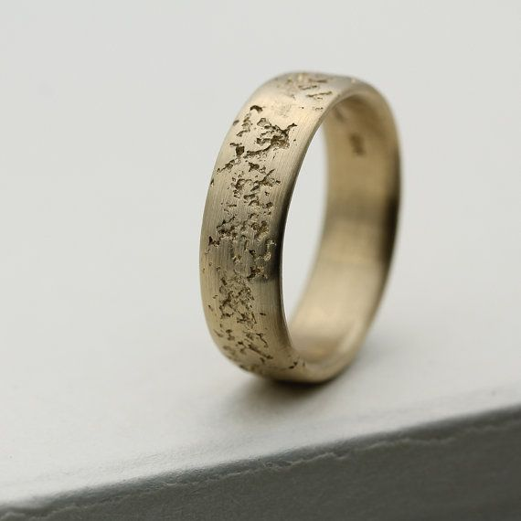 Cement Wedding Band 6mm Wide - Concrete Textured Gold or Palladium Men's Ring - Rustic, Ancient, Cement, Raw, Rough, Lava Rock Texture on Etsy, $520.00