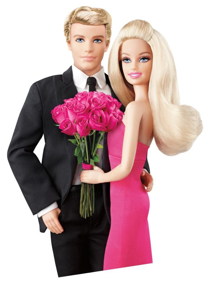 Ken and Barbie holding pink roses