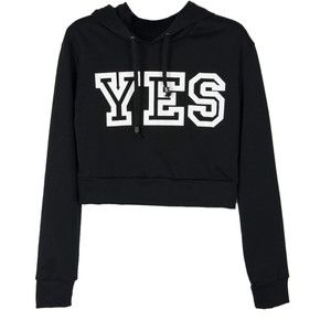 Choies Black YES Print Crop Hoodie