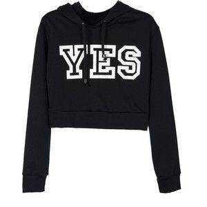 Choies Black YES Print Crop Hoodie