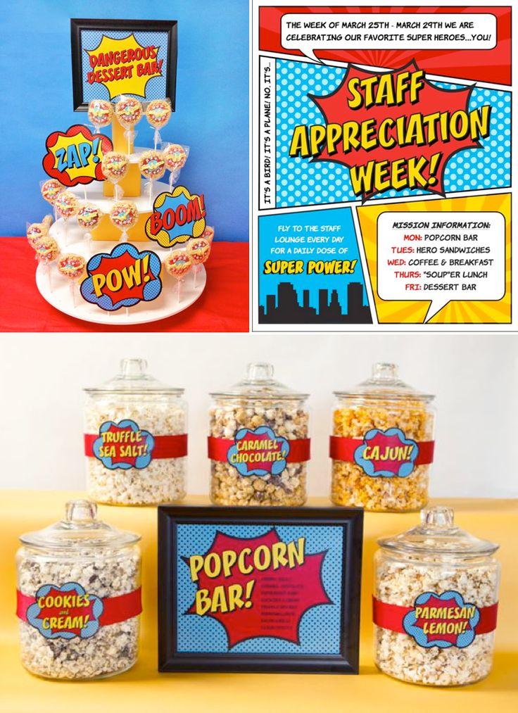 Staff Teacher Appreciation Week Idea!! Superhero Staff Appreciation week (with printables) via Karas Party Ideas KarasPartyIdeas.com