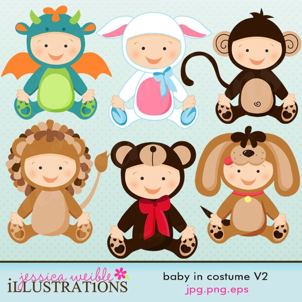 Baby In Costume set comes with 6 cute babies in various costumes including: a baby dragon costume, a lamb costume, a monkey costume, a lion costume, a bear costume and a puppy costume.