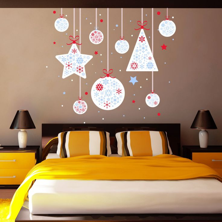 Multicolored Decal Merry Christmas Full Color Decal Trees Garland Stars Murals  Wall Decorations Colorful Decals For Part 96