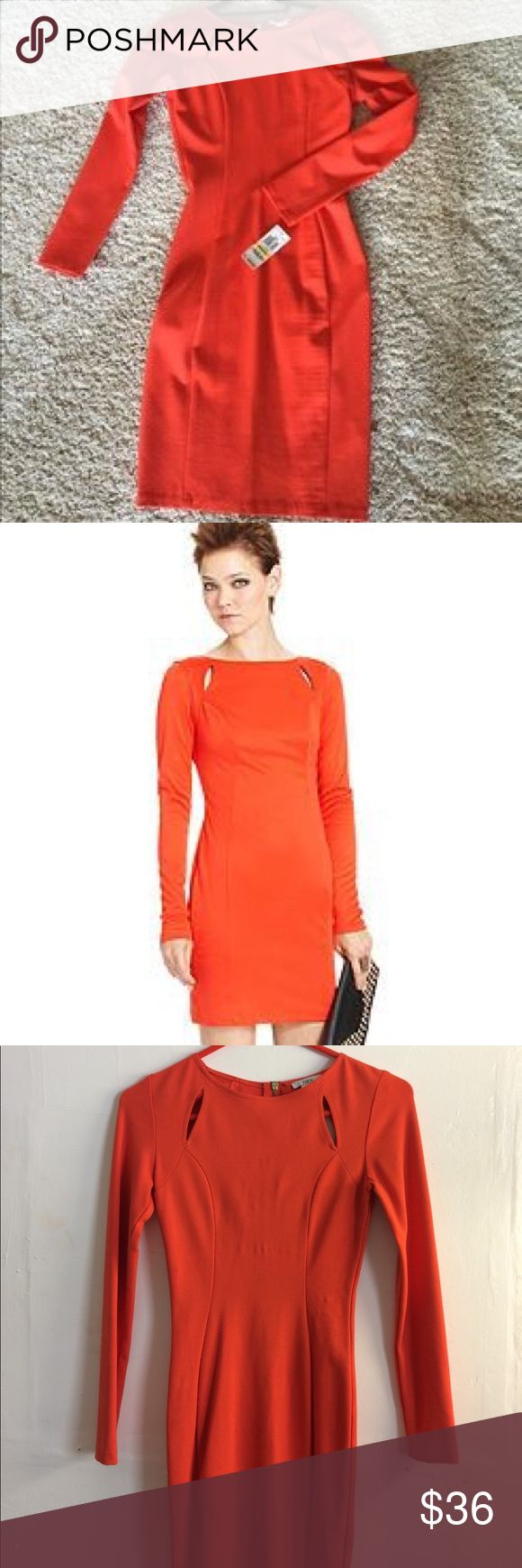 Orange bandage long sleeve dress XS Beautiful classy chic orange dress. Perfect for any occasion. Bar III Dresses
