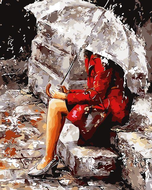 Dessin abstrait Figure Peinture Acrylique Toile Sans Cadre Décoration de La Maison mur art DIY Numérique Peinture À L'huile de Pluie By Numéros