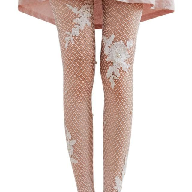Black or White Embroidered and Embellished Fishnet Tights