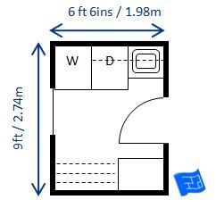 Mid size 6ft 6ins x 9ft (1.98 x 2.74m) laundry room sized for North American appliances. Lots of storage and big drying rack. Click through to the website for more commentary on this laundry room floor plan and more laundry design.