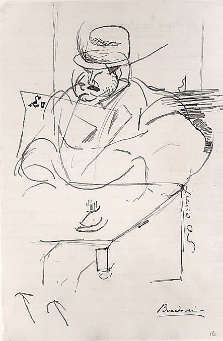 Umberto Boccioni Man at a Café Table, Paris