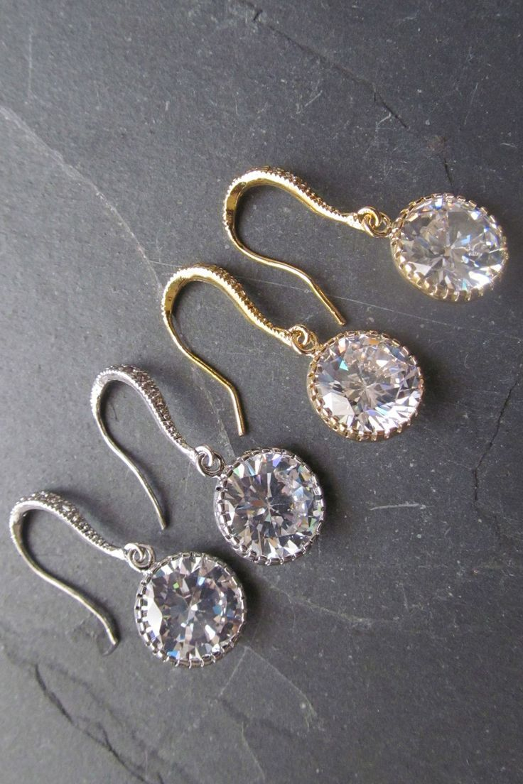 Bridal Earrings Round Cubic Zirconia Drop Earrings Dangle Earrings