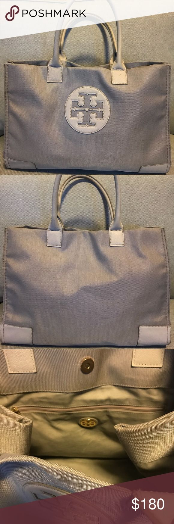 Tory Burch Ella Metallic Nylon Tote Bag in Khaki Classic Tory Burch Ella bag with magnetic snap closure and snap button sides. This bag is spacious and fits a laptop. Bag is in perfect condition and comes with dust bag. Tory Burch Bags Totes