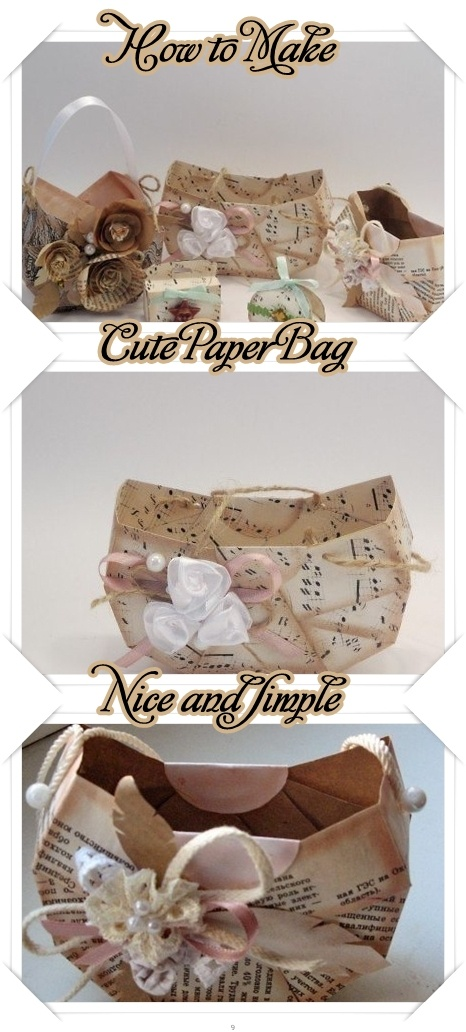 #DIY Simple Paper Bag.  This would make a great container for a small gift to give to your favorite reading teacher.  Make it from pages of any old book.  Even a picture book would make a cute container.  Make it from #music sheets for  the music teacher.
