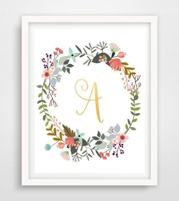 Monogram Print, Printable Wall Art, Custom Print, Initial Letter , Typography Art, Nursery Art, Floral Art,  Instant download