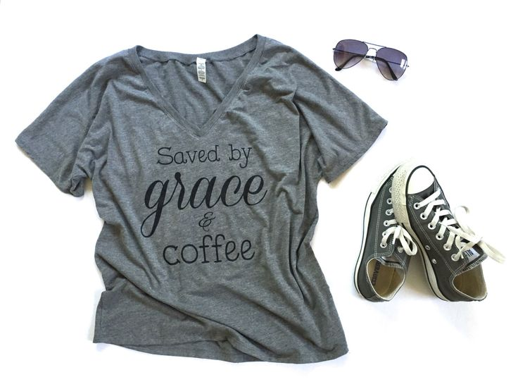 NEW* Saved by Grace & Coffee V-neck Tees - women's tees - shirts with sayings - coffee shirt - religious shirt - Size S-L by DollFaceClothingxo on Etsy https://www.etsy.com/listing/448900340/new-saved-by-grace-coffee-v-neck-tees