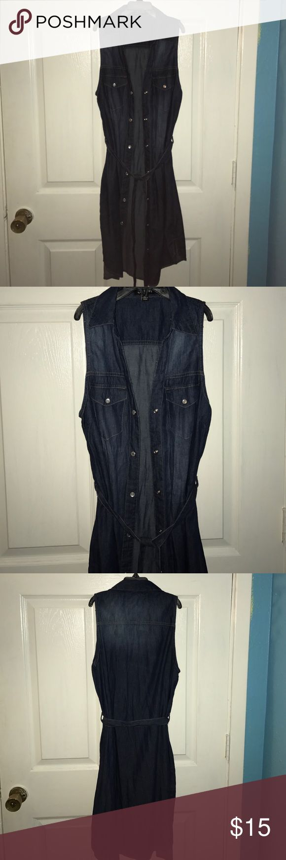 Denim Shirt Dress Sleeveless denim shirt dress in very good condition, never worn! Size S. ❤️ Dresses