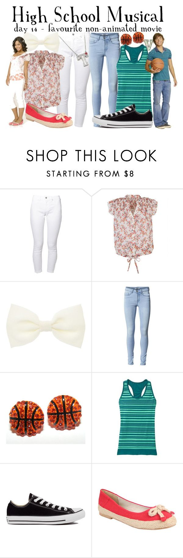 """""""30 Day Disney; 14 - Troy and Gabriella (High School Musical)"""" by fabfandoms ❤ liked on Polyvore featuring Brooklyn Supply Co., dELiA*s, Accessorize, ONLY, Athleta, Converse, Disney, Nomad, women's clothing and women"""