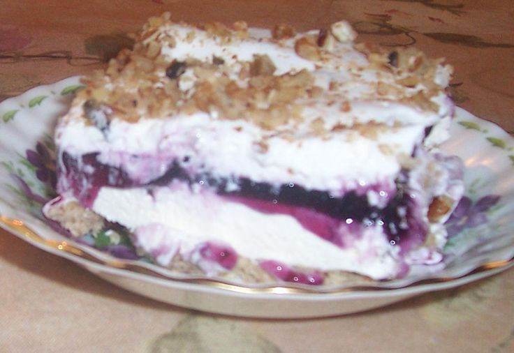 Blueberry Delight Dessert - I think this is the famous dessert Jackie used to make at the holidays.