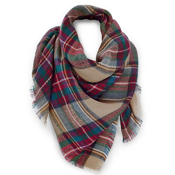 Venus Multi Color Plaid Scarf ($26) ❤ liked on Polyvore featuring accessories, scarves, plaid scarves, multi colored scarves, plaid shawl, colorful shawl and tartan shawl
