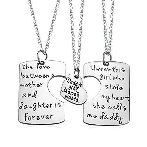 Udobuy3 Piece Mother Father Daughter Heart Pendant Necklace Set Daddy's Girl Mommy's World Mother Daughter Father Family jewelry Necklace Set