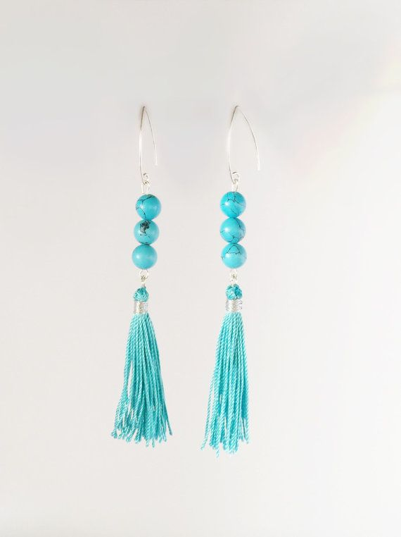 Check out Turquoise color gemstones, long earrings, .925 sterling silver base, tassel, turquoise, long earrings on pearlanajewelry