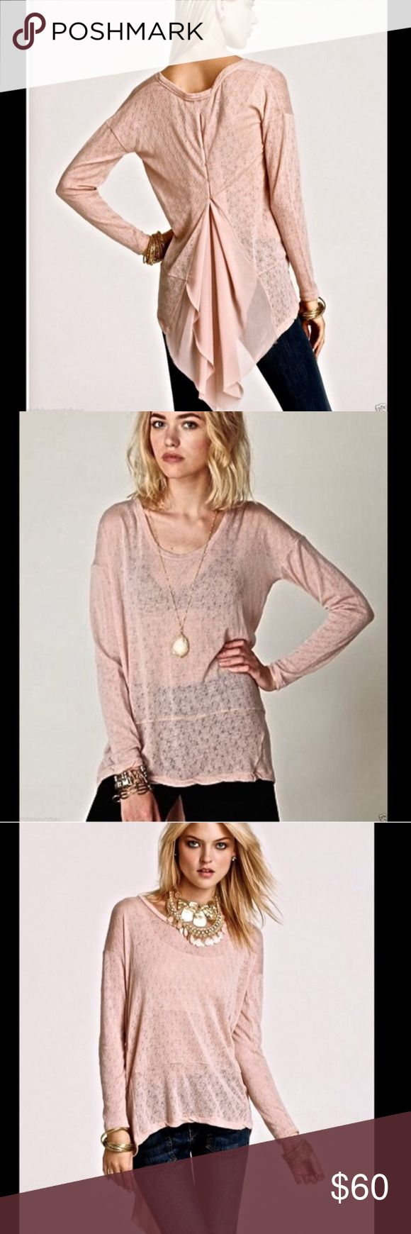 Free People New Romantics Accordion Tee Baby pink accordion tee by Free People. Long sleeves, extreme high low detail with long train in the back. Buttons up the back with open back detail. No flaws, gently used. Size small. I ship daily - excluding Sundays and holidays - and I store items in a smoke free, pet free environment. Open to offers; bundles discounted! Free People Tops Tees - Long Sleeve