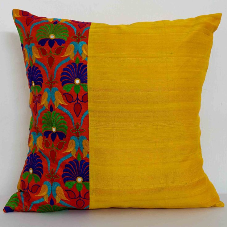 Kutch Embroidery Silk Pillow Cover in Orange and Yellow