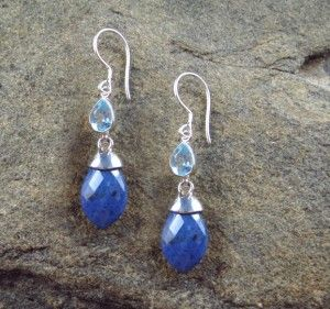 Blue Topaz and Dumortierite Earrings $80