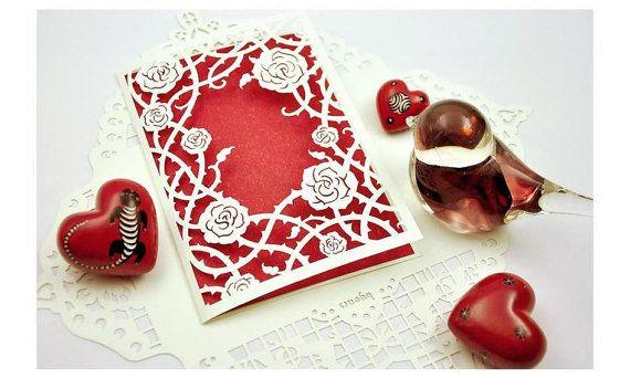 Romantic Rose C001 - Six of Originally Designed Multi-Purpose  Cutwork Blank Cards, Christmas Card, Valentine's Day, Anniversary, Halloween