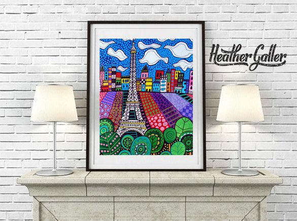 DIGITAL Print File - Paris France Art Eiffel Tower art Art Print Poster by Heather Galler (HG739)