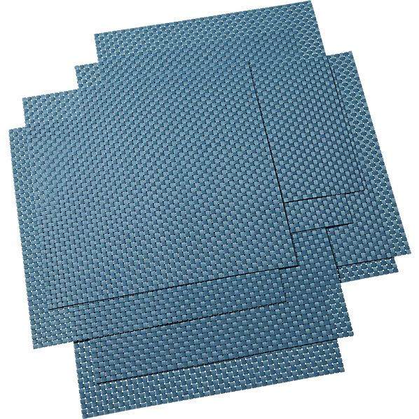 set of 8 basketweave blue-green placemats  | CB2