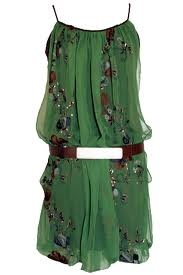 Green silk chiffon tunic dress.