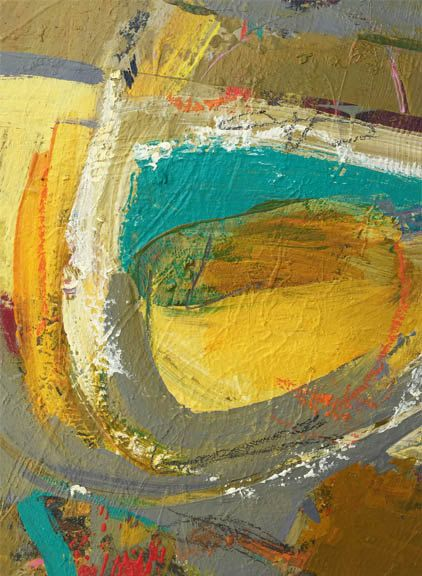 Beautiful turquoise, olives and golds are incorporated into this original contemporary piece. This painting is mixed media on canvas paper,
