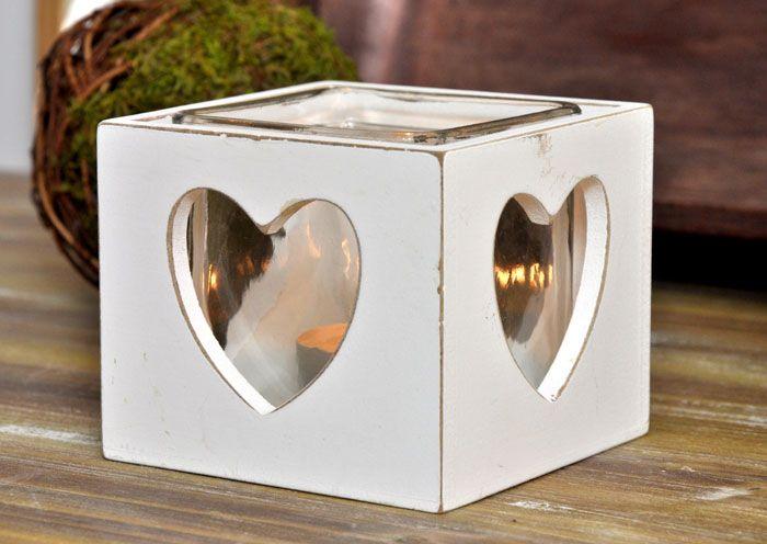 Subtelny świecznik z motywem serca w stylu Shabby Chic / Charming Tea Light Candle On