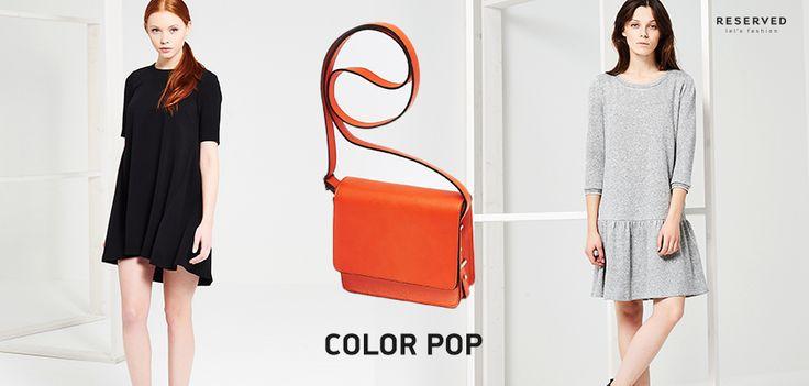 Jednobarwna sukienka o prostym kroju i stonowanej barwie ożyje w towarzystwie mocnej torebki. Co powiecie na pomarańczową?  >> http://bit.ly/TorebkaLA357  Dostępne w salonie Reserved w GH Sky Tower.