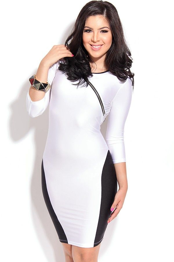 Stylish Figure-flattering Accent Cut out White Bodycon Dress