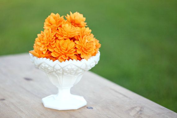 10 3 Orange Wooden Flowers Wedding Decorations by companyfortytwo, $25.00