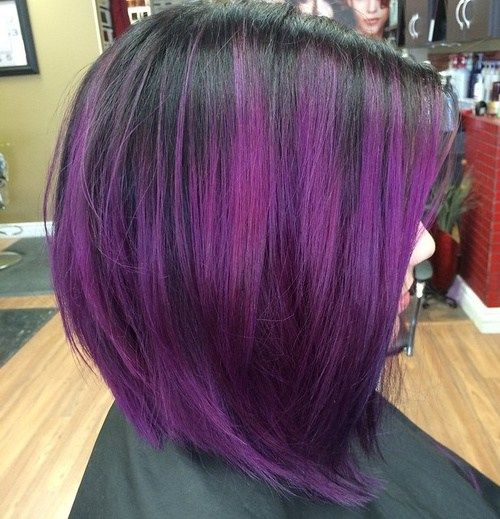 black bob with reddish purple balayage