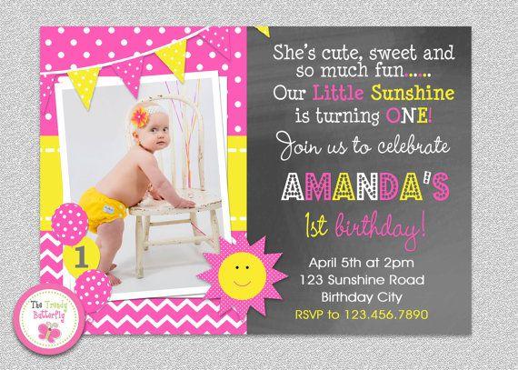 Sunshine Birthday Party Invitation #youaremysunshine #hotpink #yellow #sun #summer