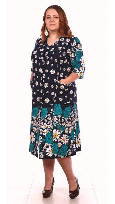 Длинный хлопчатобумажный женский халат большого размера (62 - 84) с рукавом длиннее локтя | pravtorg.ru