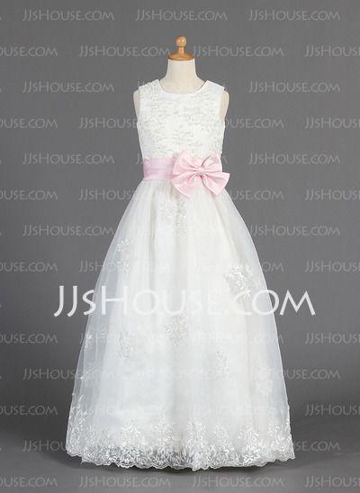 Flower Girl Dresses - $116.69 - A-Line/Princess Scoop Neck Floor-Length Organza Satin Flower Girl Dress With Lace Sash Beading (010014657) http://jjshouse.com/A-Line-Princess-Scoop-Neck-Floor-Length-Organza-Satin-Flower-Girl-Dress-With-Lace-Sash-Beading-010014657-g14657