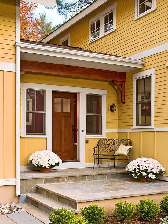 Best Front Stoop Decor Ideas On Pinterest Flower Bed With
