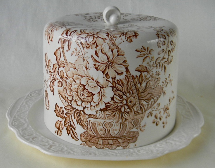 Victorian Basket of Flowers Vintage Charlotte Brown Transferware Cheese Bell / Cheese Dome with Matching Embossed Platter. 199.99, via Etsy.