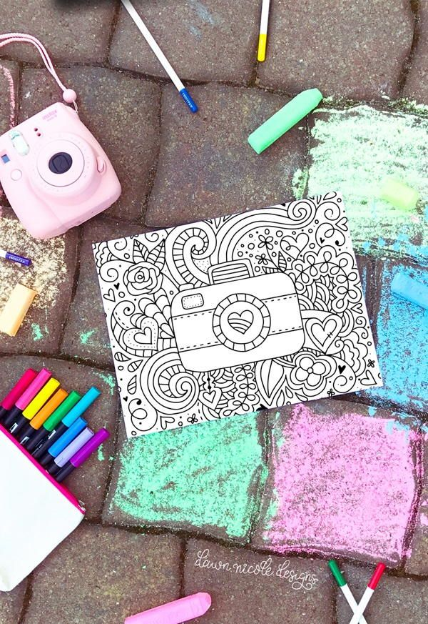 Prettiest Camera Doodled Coloring Page